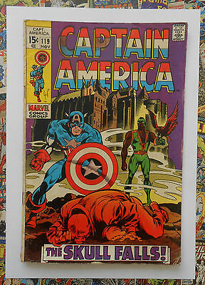 Captain America #119 - Nov 1969 - Red Skull Appearance! - Vg- (3.5) Cents Copy!