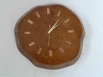 Vintage Wooden Tree Log Battery Operated Wall Clock. 1970's