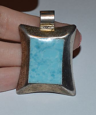Mexico Sterling Silver And Larimar Large Pendant