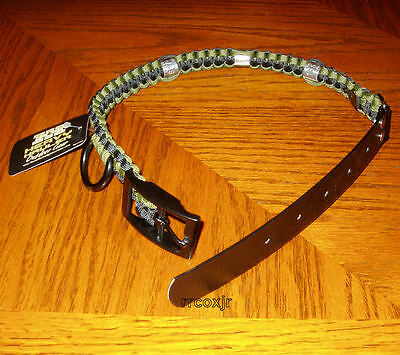 Heavy Hauler Duck Band Dog Collar Braided Olive Drab And Black L Large New!