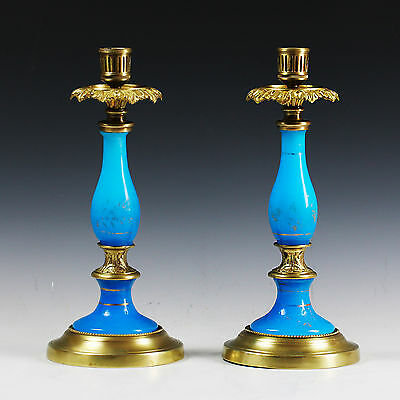 Pair of Antique French blue opaline glass and bronze pillar Candle holders brass
