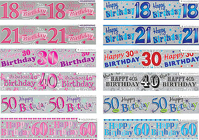 HAPPY BIRTHDAY  GIANT AGE BANNERS 18 21 30 40 50 60 PARTY DECORATIONS (ew)