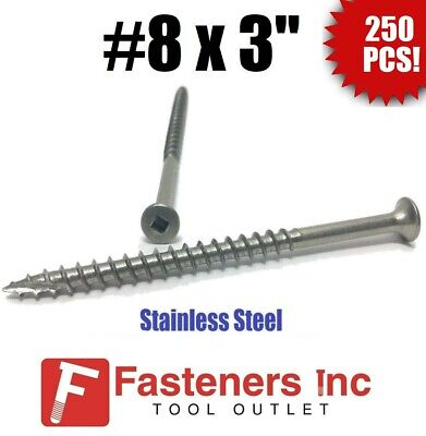 "(Qty 250) #8 x 3"" Stainless Steel Deck Screws Square Drive Wood Type 17"