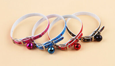 Cat Kitten Dog Puppy Soft Safety Adjustable Necklace Collar & Bell Multi Color
