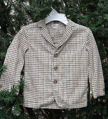 """Boys' 1950s Lightweight Cotton Widowpane Checked Jacket by Barry Boy 28"""" Chest"""
