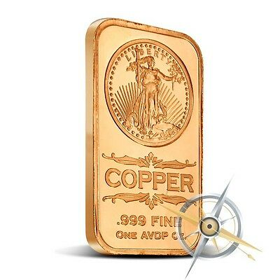 1 oz Copper Bar - Saint Gaudens 999 Copper Bullion Bar