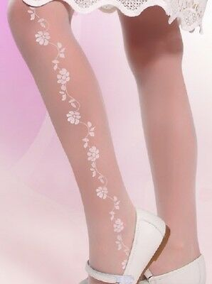 Girls White Patterned Sheer Tights Flower Girl Wedding Communion Hosiery 20 DEN