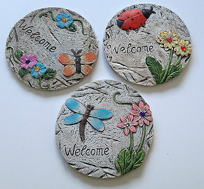 3 x Round Stepping Stones Garden Path Trail Decorative Crazy Paving Steps Set