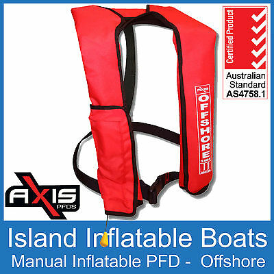 AXIS OFFSHORE INFLATABLE  LIFEJACKET ✱ RED ✱ 150N PFD1 Boat Manual Life Jacket