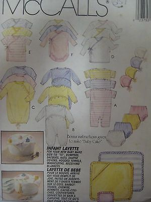 Vtg McCall's 6899 INFANT LAYETTE & BABY CAKE FOR SHOWER Sewing Pattern UNCUT