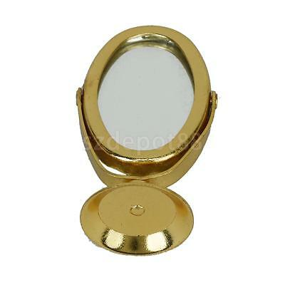 1/12 Scale Dolls House Miniature Bedroom Metal Dressing Table Mirror Gold