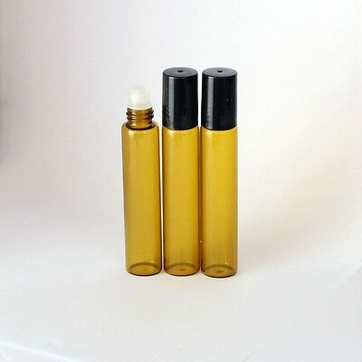 10x Amber Small 10ML  Perfume Essential Oil Bottles Roll On Roller Glass Ball