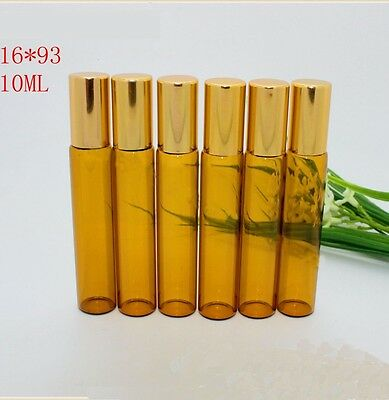 100Pcs NEW Lot Small 10ML Empty Perfume Roll On Metal Roller  Ball Glass Bottle