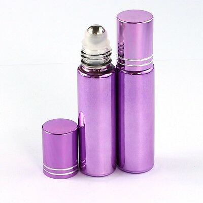 30 Pcs Small 10ML Empty Perfume Roll on Roller Metal Ball Glass Bottle& Purple