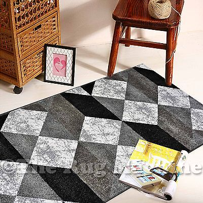 BOSTON GREY BLACK WHITE GEOMETRIC DIAMONDS DESIGN MODERN RUG RUNNER 80x300cm *NE