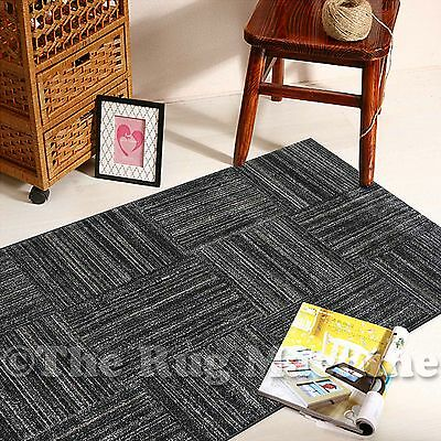 BOSTON BLACK GREY LINES SQUARES DESIGN MODERN FLOOR RUG RUNNER 80x300cm **NEW**
