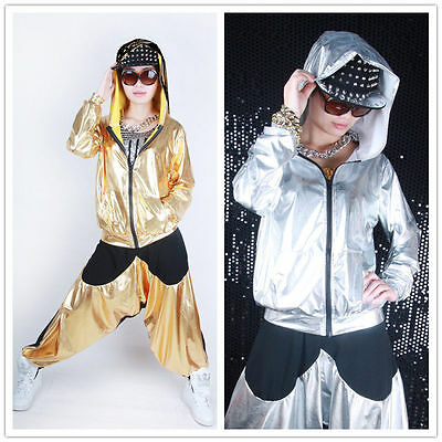 Thin Women Men Jazz Gold shiny patchwork Costume Top Loose Hip Hop dance jackets