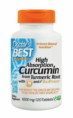 Doctor's Best, High Absorption Curcumin, 1000mg, 120 Veg. Tabletten