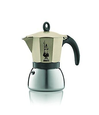Bialetti Stainless Steel/ Aluminium Moka Induction, Gold 6 Cup