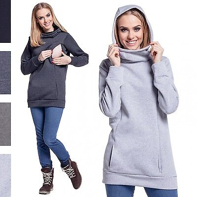 Happy Mama Women's Maternity Nursing Hoodie Top Sweatshirt Kangaroo Pocket. 093p