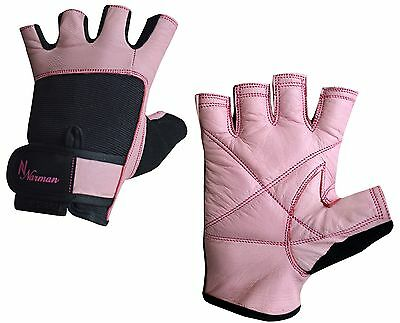 Pink LEATHER Weight Lifting Body Building Gloves Gym fitness training Ladies