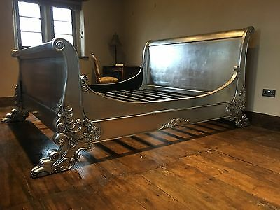 Mahogany Large Boudior Silver Leaf French Ornate Sleigh Pawed Double Bed