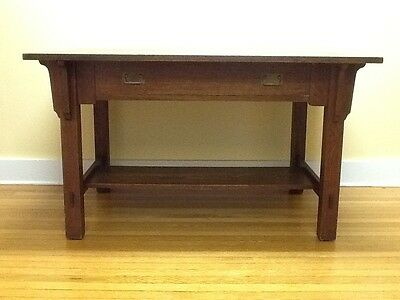 Antique Stickley & Brandt Oak Library Table-2 Pull Drawer w/sticker Org. c.1910