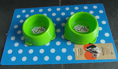 Colourful Cat Dog Kitten Puppy Bowl And Feeding Mat Sets Choice Of Colour & Size
