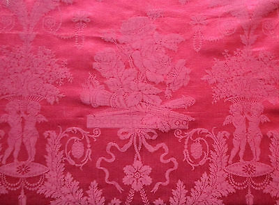 Antique Silk Damask Fabric Depicts Cherubs & Florals French