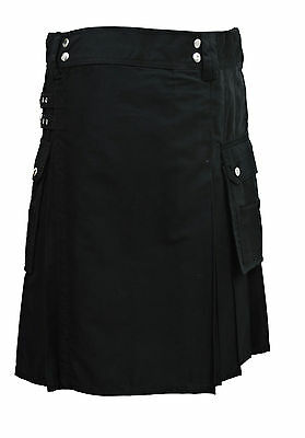 Alternative Utility Kilt Black Cotton Canvas All Sizes Modern Kilts