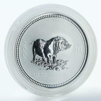 Australia, 50 Cents, Year of the Pig 2007, Lunar, Series I, 1/2 Oz Silver coin