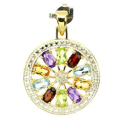 Sterling Silver 925 Gold Plated Genuine Natural Multi Coloured Gemstone Pendant