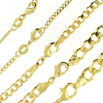 18k Gold Filled Curb Cuban Mens Womens Chain Necklace All Sizes
