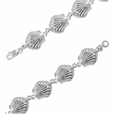 New Ladies 0.925 Sterling Silver 6.5in Seashell Charm Link Bracelet