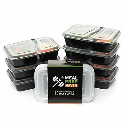 California Home Goods 3 Compartment Reusable Food Storage Containers with Lid...