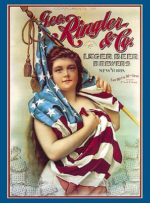 1898 Geo Ringler Beer Breweriana New York America Travel Advertisement Poster