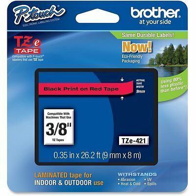 Brother TZE421 TZe Standard Adhesive Labeling Tape, 3/8w, Black on Red P-Touch