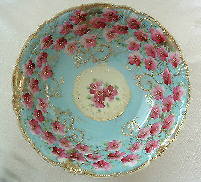 Vintage NIPPON Hand Painted BOWL Decorative FLORAL w/ BEADED Gold Trim 1950s-60s