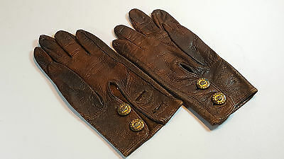 Pair Of Fownes Antique Victorian Tiny Brown Leather Child's Gloves 5""