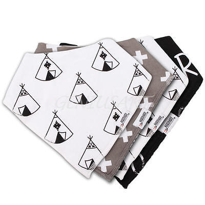 4 Pcs/Set Soft 95% Cotton Baby Bandana Drool Bibs For Cute Boys and Girls Gift