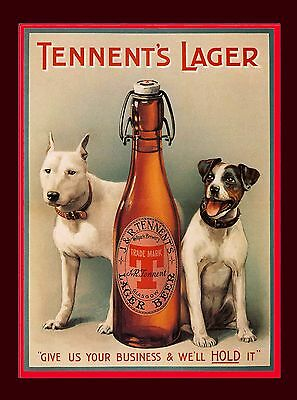 Vintage Tennant's Lager Beer Breweriana Terrier Dog Dogs Advertisement Poster