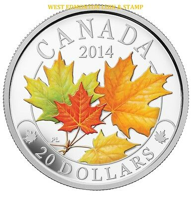 2014 $20 Fine Silver Coin Majestic Maple Leaves With Colour