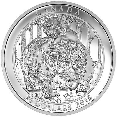 2015 $20 Fine Silver Coin Grizzly Bear: Togetherness