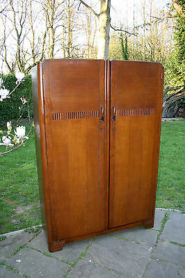 Large Vintage Oak Wood Double Door Wardrobe With Two Clothes Rails & Shelf & Key
