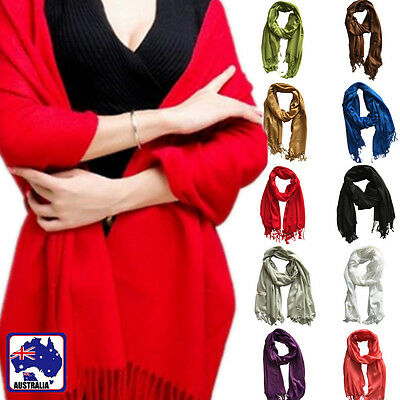 Women Winter Wrap Scarf Warm Solid Plain Color Long Pashmina Shawl CSCA02