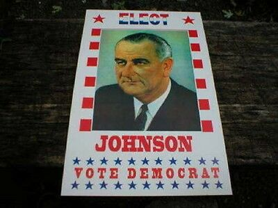 Elect Lyndon B Johnson President Campaign Poster Heavy Paper Picture Cardstock