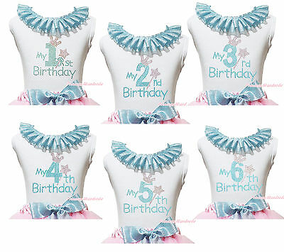 My 1ST 2ND 3RD 4TH 5TH 6TH Birthday Baby Girls Bling Blue Lacing White Top Shirt
