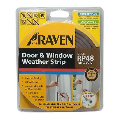 RAVEN 5M EPDM Door & Window Weather Strip Brown RP48 For 3-5mm Gap R48B