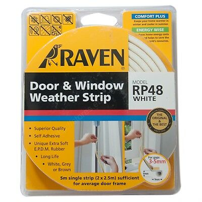 RAVEN 5M EPDM Door & Window Weather Strip White RP48 For 3-5mm Gap R48W