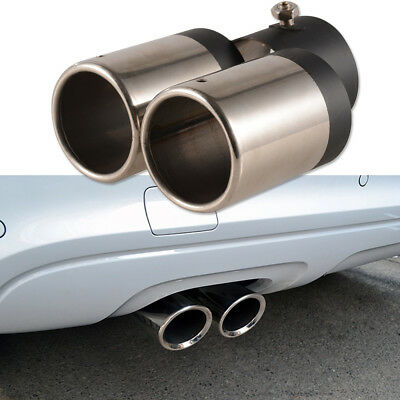 Car Stainless Steel Twin Dual Muffler Exhaust Trim Tips Chrome Tail Pipe AU